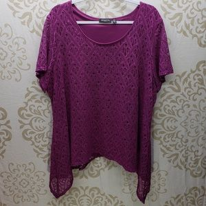 Purple Notations Open Lace Sharkbite Top- Size 3x
